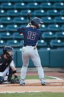 Evan Edwards (16) of the Bowling Green Hot Rods at bat against the Winston-Salem Dash at Truist Stadium on September 7, 2021 in Winston-Salem, North Carolina. (Brian Westerholt/Four Seam Images)