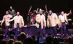 The Temptations featuring Joe Herndon, Terry Weeks, Otis Williams, Bruce Williamson and Ronald Tyson perform during 'The Temptations And The Four Tops On Broadway' - Curtain Call at Palace Theatre on December 29, 2014 in New York City.
