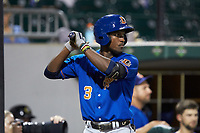 Lucius Fox (3) of the Durham Bulls waits in the on deck circle for his turn to bat against the Charlotte Knights at BB&T BallPark on July 31, 2019 in Charlotte, North Carolina. The Knights defeated the Bulls 9-6. (Brian Westerholt/Four Seam Images)