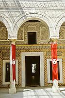 Tunis, Tunisia.  Dar Lasram Courtyard, 18th. Century Mansion.  Tunisian Flags.