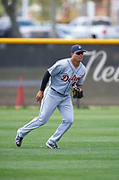 Detroit Tigers Elvis Rubio (43) during practice before a minor league Spring Training game against the New York Yankees on March 22, 2017 at the Yankees Complex in Tampa, Florida.  (Mike Janes/Four Seam Images)