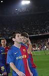 Lionel Messi performs a lap of honour as Barca win the league title. Barcelona v Osasuna (0-1), La Liga, Nou Camp, Barcelona, 23rd May 2009.