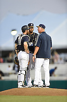***Temporary Unedited Reference File***San Antonio Missions pitching coach Jimmy Jones (45) during a game against the Midland RockHounds on April 21, 2016 at Nelson W. Wolff Municipal Stadium in San Antonio, Texas.  Midland defeated San Antonio 9-2.  (Mike Janes/Four Seam Images)