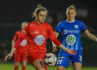 Sheila Broos (20) of Woluwe and Ella van Kerkhoven (3) of AA Gent in action during a female soccer game between FC Femina White Star Woluwe and AA Gent Ladies on the 13 th matchday of the 2020 - 2021 season of Belgian Scooore Womens Super League , friday 5 th of February 2021  in Woluwe , Belgium . PHOTO SPORTPIX.BE | SPP | SEVIL OKTEM