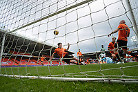 22nd August 2020; Tannadice Park, Dundee, Scotland; Scottish Premiership Football, Dundee United versus Celtic; Jamie Robson of Dundee United is unable to stop the winning goal scored by Albian Ajeti of Celtic from crossing the goal line in the 85th minute for 0-1