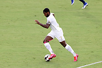 CARY, NC - AUGUST 01: Brian Wright #7 runs the ball up the field during a game between Birmingham Legion FC and North Carolina FC at Sahlen's Stadium at WakeMed Soccer Park on August 01, 2020 in Cary, North Carolina.