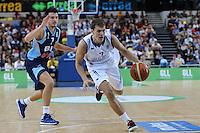 GB's Devon Van Oostrum moves forward leaving Marko Sutalo of Bosnia & Herzegovina during the EuroBasket 2015 2nd Qualifying Round Great Britain v Bosnia & Herzegovina (Euro Basket 2nd Qualifying Round) at Copper Box Arena in London. - 13/08/2014