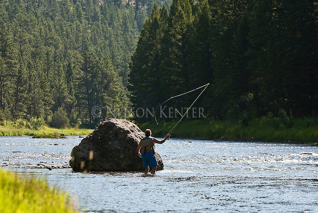 Fly fishing the Smith River on a sunny summer day in Montana