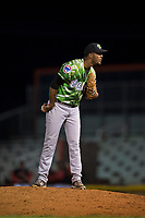 Eugene Emeralds relief pitcher Ivan Medina (36) looks in for the sign during a Northwest League game against the Salem-Keizer Volcanoes at Volcanoes Stadium on August 31, 2018 in Keizer, Oregon. The Eugene Emeralds defeated the Salem-Keizer Volcanoes by a score of 7-3. (Zachary Lucy/Four Seam Images)