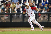 North Carolina State second baseman Logan Ratledge (6) runs to second base during Game 10 of the 2013 Men's College World Series against the North Carolina Tar Heels on June 20, 2013 at TD Ameritrade Park in Omaha, Nebraska. The Tar Heels defeated the Wolfpack 7-0, eliminating North Carolina State from the tournament. (Andrew Woolley/Four Seam Images)