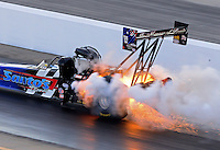 Sept. 14, 2012; Concord, NC, USA: NHRA top fuel dragster driver Cory McClenathan blows an engine during qualifying for the O'Reilly Auto Parts Nationals at zMax Dragway. Mandatory Credit: Mark J. Rebilas-