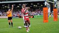 20130809 Copyright onEdition 2013 ©<br /> Free for editorial use image, please credit: onEdition.<br /> <br /> Andrew Bulumakau of Gloucester Rugby 7s celebrates scoring a try during the finals of the J.P. Morgan Asset Management Premiership Rugby 7s Series.<br /> <br /> The J.P. Morgan Asset Management Premiership Rugby 7s Series kicked off for the fourth season on Thursday 1st August with Pool A at Kingsholm, Gloucester with Pool B being played at Franklin's Gardens, Northampton on Friday 2nd August, Pool C at Allianz Park, Saracens home ground, on Saturday 3rd August and the Final being played at The Recreation Ground, Bath on Friday 9th August. The innovative tournament, which involves all 12 Premiership Rugby clubs, offers a fantastic platform for some of the country's finest young athletes to be exposed to the excitement, pressures and skills required to compete at an elite level.<br /> <br /> The 12 Premiership Rugby clubs are divided into three groups for the tournament, with the winner and runner up of each regional event going through to the Final. There are six games each evening, with each match consisting of two 7 minute halves with a 2 minute break at half time.<br /> <br /> For additional images please go to: http://www.w-w-i.com/jp_morgan_premiership_sevens/<br /> <br /> For press contacts contact: Beth Begg at brandRapport on D: +44 (0)20 7932 5813 M: +44 (0)7900 88231 E: BBegg@brand-rapport.com<br /> <br /> If you require a higher resolution image or you have any other onEdition photographic enquiries, please contact onEdition on 0845 900 2 900 or email info@onEdition.com<br /> This image is copyright the onEdition 2013©.<br /> <br /> This image has been supplied by onEdition and must be credited onEdition. The author is asserting his full Moral rights in relation to the publication of this image. Rights for onward transmission of any image or file is not granted or implied. Changing or deleting Copyright information is illegal as specified in the Copyright, Design and Patents Act 1988. If you are in any way unsure of your right to publish