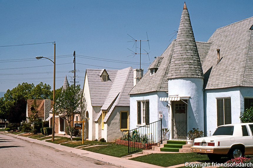 "Redlands CA: Normandy Court, c. 1925. 15 small single-family cottages ""almost dollhouse in scale"".  Photo '87."