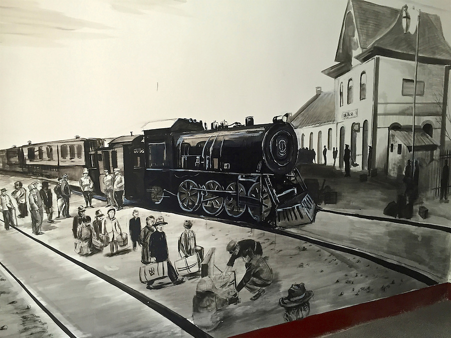 Mural of the train journey to the Camp in March 1943.