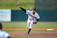 Kannapolis Intimidators relief pitcher Tyler Johnson (21) delivers a pitch to the plate against the Lakewood BlueClaws at Kannapolis Intimidators Stadium on April 8, 2018 in Kannapolis, North Carolina.  The Intimidators defeated the BlueClaws 4-3 in game two of a double-header.  (Brian Westerholt/Four Seam Images)