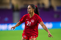 ORLANDO, FL - FEBRUARY 21: Jordyn Listro #21 of the CANWNT defends the ball during a game between Argentina and Canada at Exploria Stadium on February 21, 2021 in Orlando, Florida.