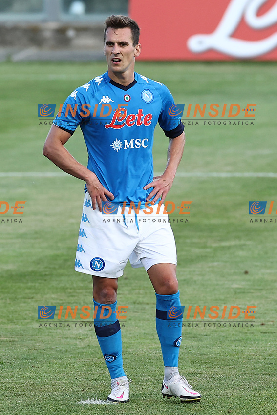 Arkadiusz Milik of SSC Napoli looks on during the friendly football match between SSC Napoli and Castel di Sangro Cep 1953 at stadio Patini in Castel di Sangro, Italy, August 28, 2020. <br /> Photo Cesare Purini / Insidefoto