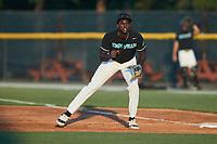 Danville Otterbots first baseman Chenar Brown (24) (Jackson State)  on defense against the Burlington Sock Puppets at Burlington Athletic Park on June 5, 2021 in Burlington, North Carolina. (Brian Westerholt/Four Seam Images)