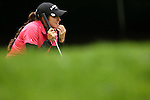 American Gerina Piller reviews the third hole during Round 2 of the LPGA Championship at Locust Hill Country Club in Pittsford, NY on June 8, 2013