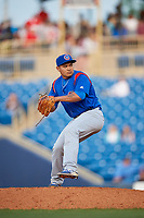 South Bend Cubs relief pitcher Manuel Rodriguez (35) delivers a pitch during the first game of a doubleheader against the Lake County Captains on May 16, 2018 at Classic Park in Eastlake, Ohio.  South Bend defeated Lake County 6-4 in twelve innings.  (Mike Janes/Four Seam Images)