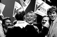FILE PHOTO : Pauline Marois<br />  Après la Victoire de Pierre-Marc Johnson lors du vote final de la course à la chefferie du Parti Québécois, le 29 septembre 1985<br /> <br /> PHOTO : Denis Alix -  Agence Quebec Presse