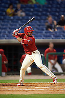 Clearwater Threshers catcher Gabriel Lino (7) at bat during a game against the Charlotte Stone Crabs on April 12, 2016 at Bright House Field in Clearwater, Florida.  Charlotte defeated Clearwater 2-1.  (Mike Janes/Four Seam Images)
