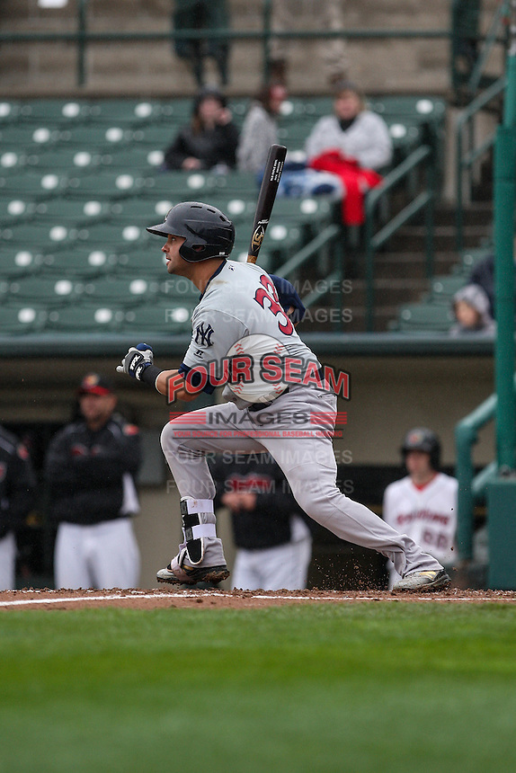 Scranton/Wilkes-Barre RailRiders designated hitter Nick Swisher (33) bats against the Rochester Red Wings on May 1, 2016 at Frontier Field in Rochester, New York. Rochester defeated Scranton 1-0.  (Christopher Cecere/Four Seam Images)