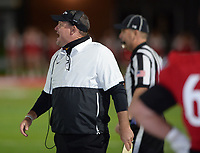Farmington defensive coordinator Jay Harper directs his defense Friday, Oct. 16, 2020, during the first half of play against Clarksville at Cardinal Stadium in Farmington. Visit nwaonline.com/201017Daily/ for today's photo gallery. <br /> (NWA Democrat-Gazette/Andy Shupe)
