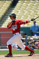 August 9 2008: Luke Bailey participates in the Aflac All American baseball game for incoming high school seniors at Dodger Stadium in Los Angeles,CA.  Photo by Larry Goren/Four Seam Images