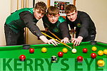 Luke Regan, Aaron Templeman, Danny Moriarty who are heading to Malta to play pool with the Irish team.