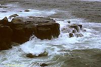OC01-009z  Ocean - waves breaking, rocks - Acadia National Park, Maine