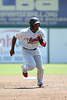 Henry Castillo (24) of the Visalia Rawhide runs the bases during a game against the Inland Empire 66ers at San Manuel Stadium on June 5, 2017 in San Bernardino, California. Visalia defeated Inland Empire, 9-1. (Larry Goren/Four Seam Images)