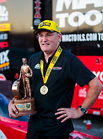 Oct 4, 2020; Madison, Illinois, USA; NHRA top fuel driver Doug Kalitta celebrates after winning the Midwest Nationals at World Wide Technology Raceway. Mandatory Credit: Mark J. Rebilas-USA TODAY Sports