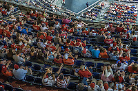 28 May 2016: A section of fans watch the baseball game and many check their electronic devices during a game between the St. Louis Cardinals and the Washington Nationals at Nationals Park in Washington, DC. The Cardinals defeated the Nationals 9-4 to take a 2-games to 1 lead in their 4-game series. Mandatory Credit: Ed Wolfstein Photo *** RAW (ARW) Image File Available ***