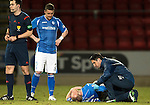 St Johnstone v Inverness Caley Thistle…09.03.16  SPFL McDiarmid Park, Perth<br />Steven Anderson gets treatment from the physio after aknock in the back<br />Picture by Graeme Hart.<br />Copyright Perthshire Picture Agency<br />Tel: 01738 623350  Mobile: 07990 594431