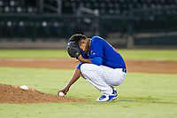 AZL Cubs relief pitcher Eury Ramos (81) takes a moment to himself during a game against the AZL Giants on September 6, 2017 at Sloan Park in Mesa, Arizona. AZL Giants defeated the AZL Cubs 6-5 to even up the Arizona League Championship Series at one game a piece. (Zachary Lucy/Four Seam Images)