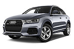 Stock pictures of low aggressive front three quarter view of a 2015 Audi Q3 Sport 5 Door SUV