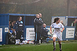Leeds United Ladies 1 Nottingham Forest Ladies 1, 13/11/2011. Throstle Nest, FA Premier League National Division. Leeds United Ladies FC manager Chris Welburn (centre) and coach Claire Robinson watching the action during the second half against Nottingham Forest Ladies FC in an FA Premier League National Division fixture at the Throstle Nest, Farsley, West Yorkshire. The match ended in a one-all draw, watched by fewer than 50 spectators at the club's regular home ground. Formed in 1989, Leeds United Ladies has been one of England's top women's sides for most of the last ten years and played in the top winter league for ladies' teams. Photo by Colin McPherson.
