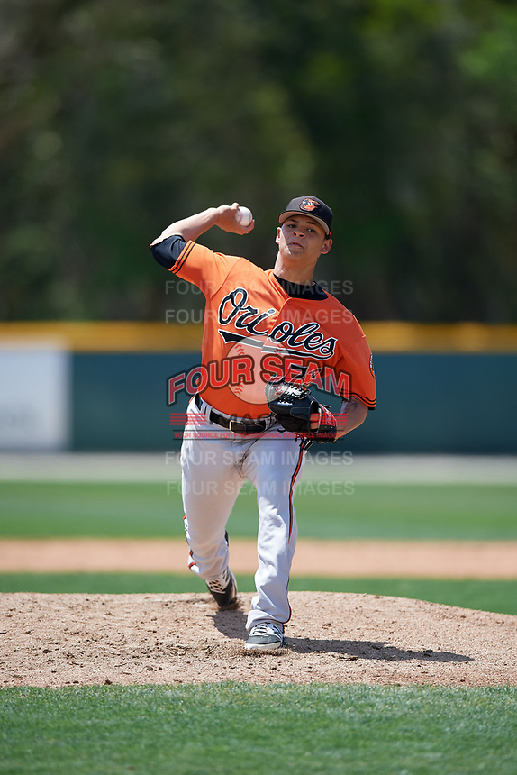Baltimore Orioles pitcher Tobias Myers (73) delivers a pitch during a minor league Spring Training game against the Tampa Bay Rays on March 29, 2017 at the Buck O'Neil Baseball Complex in Sarasota, Florida.  (Mike Janes/Four Seam Images)