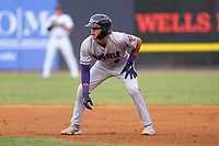 Fort Myers Mighty Mussels Keoni Cavaco (9) leads off first base during a game against the Tampa Yankees on May 19, 2021 at George M. Steinbrenner Field in Tampa, Florida. (Mike Janes/Four Seam Images)