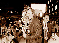 August 26, 1995 file photo, Montreal (Quebec). CANADA.<br /> <br />  French actor  G»rard Depardieu (L) receive an Grand Prize of The America, from Serge Losique (R) after a conference at the  World Film Festival in Montreal (Quebec, Canada ) August 26, 1995<br /> <br /> Photo : (c) Pierre Roussel, 1999