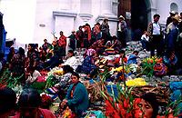 Guatemala, Chichicastenango, pilgrims  in front of church of Saint Thomas