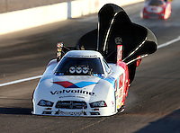 Mar 28, 2014; Las Vegas, NV, USA; NHRA funny car driver Jack Beckman during qualifying for the Summitracing.com Nationals at The Strip at Las Vegas Motor Speedway. Mandatory Credit: Mark J. Rebilas-
