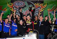 Aug 17, 2014; Brainerd, MN, USA; NHRA top fuel dragster driver Morgan Lucas celebrates with crew after winning the Lucas Oil Nationals at Brainerd International Raceway. Mandatory Credit: Mark J. Rebilas-