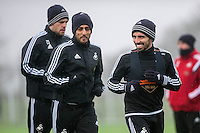 Thursday  21 January 2016<br /> Pictured L-R: Gylfi Sigurdsson, Neil Taylor and Leon Britton of Swansea in action during training<br /> Re: Swansea City Training Session at the Fairwood training ground