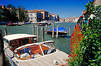 Boats at port in the canals of Venice, waterways, boat, cityscape. Venice, Italy.