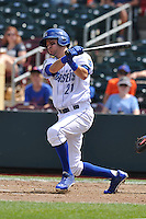 Paul Janish #21 of the Omaha Storm Chasers swings against the Las  Vegas 51s at Werner Park on August 17, 2014 in Omaha, Nebraska. The Storm Chasers  won 4-0.   (Dennis Hubbard/Four Seam Images)