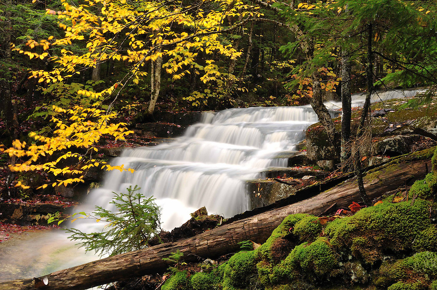 Drakes Brook tumbles down and over a step-like ledge to create Lower Fletchers Cascade, Waterville Valley NH
