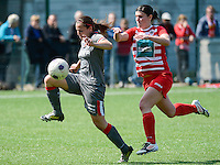20140419 - ANTWERPEN , BELGIUM : Standard's Vanity Lewerissa (left) pictured with Antwerp Annelies Van Loock (right)  during the soccer match between the women teams of RAFC Antwerp Ladies  and Standard Femina  , on the 24th matchday of the BeNeleague competition on Saturday 19 April 2014 in Deurne .  PHOTO DAVID CATRY