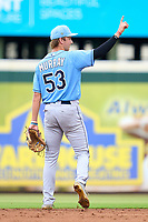 FCL Rays shortstop Tanner Murray (53) signals one out during a game against the FCL Pirates Gold on July 26, 2021 at LECOM Park in Bradenton, Florida. (Mike Janes/Four Seam Images)